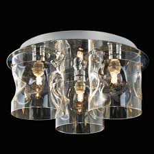 Glass Ceiling Lights Illuminati Venus Three Champagne Glass Ceiling Light Fitting
