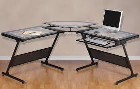 L Shaped Glass Desks L Shaped Glass Desk Ideas Into The Glass