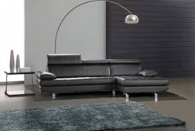 Leather Sofa Set L Shape Minimalist Faux Black Leather Sleeper Couch Combined Chromed Metal