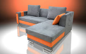 Orange Sofa Bed Sofa Bed Flame With Drawer In The Armrest Faux Suede Fabric Grey