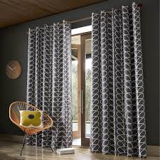 orla kiely orla kiely linear stem readymade curtains charcoal