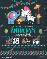 Party Invitation Card Template Cute Animals Birthday Party Invitation Card Stock Vector 449911849