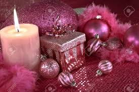 pink christmas hot pink christmas decorations with present feather garland stock