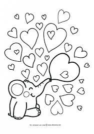 simple elephant heart doodle coloring kindergarten