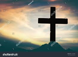 silhouette jesus christ on cross background stock photo 719258086