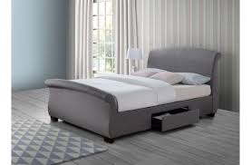 Grey Sleigh Bed Birlea Barcelona 5ft Kingsize Grey Fabric Bed Frame With 2 Drawers