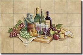 kitchen mural backsplash wine grapes ceramic tile mural backsplash 25 5 x 17 wine