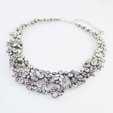 white crystal necklace images Ice laurel crystal stone cluster statement bib necklace jpg