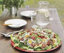 spinach cobb salad with bacon blue cheese avocado u0026 derby