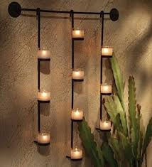 Candle Wall Candle Holders Metal Hanging Decorative Crystal Wood Wall