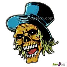 best patch orange skull joker with blue hat 11 back patch wizard patch