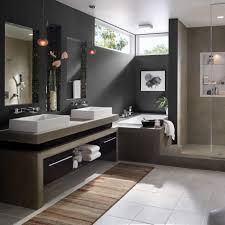 Dark Gray Bathroom by Beautiful Decorating Ideas Using Rectangular White Fabric Sofas
