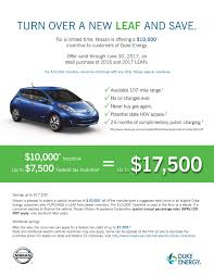 nissan leaf on finance duke customers receive 10 000 discount on nissan leaf clean