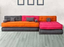 canapé modulable en tissu ton gris ou multicolore