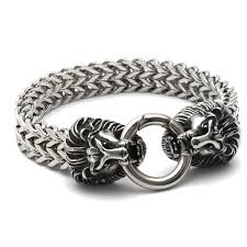 stainless silver bracelet images Stainless steel lion heads franco cuban chain silver gold men 39 s JPG