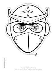 printable helmeted ninja mask color mask