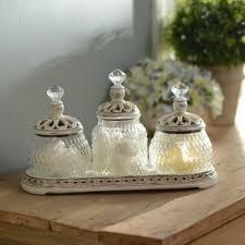 Kirklands Bathroom Vanity Vintage Ivory Jar Set With Tray Kirklands