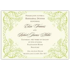 Rehearsal Dinner Invites Elegant Green Border Rehearsal Dinner Invitations Paperstyle
