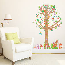 large tree and animals in woodland wall stickers large tree animals in woodland wall stickers