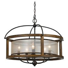 cal lighting mission wood and metal 5 light pendant chandelier