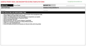 front desk receptionist cashier job descriptions