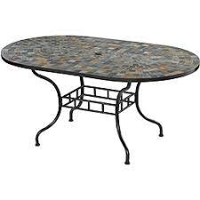 oval patio table marble top 7 pc outdoor dining table 6 chairs by home