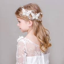 flower girl ornament white simulated pearl butterfly barrettes hair flower
