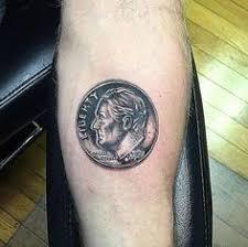 penny coin tattoo smaller u0026 b u0026w different orientation