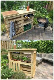 Patio Table Made From Pallets by Bbq Side Table Made From 2 Old Pallets U0026 Old Boards Fence