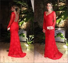 wholesale 2016 red lace mermaid long sleeve prom dresses