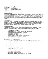 Sample Underwriter Resume by Sample Copywriter Job Description 11 Examples In Pdf Word