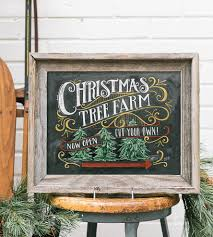 christmas tree farm chalkboard art print features happy holidays