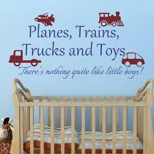 Nursery Wall Decals For Baby Boy Playroom Decal Planes Trains Trucks And Toys Boy Wall Sticker