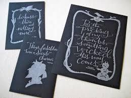 halloween art prints letterpress art prints dark side 3 pack silver