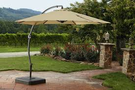 Offset Patio Umbrella With Base 11 Ft Offset Patio Umbrella Black Powder Coated Aluminum Pole Gray