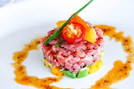 tartare cuisine layered tuna tartare with avocado mango and radish salsa food and