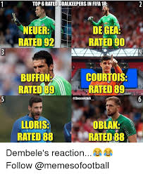 Top Rated Memes - top 6 rated goalkeepers in fifa 18 neuer rated 92 de gea rated 90
