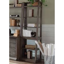 liberty furniture stone brook leaning bookcase with 6 shelves