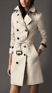 burberry long slim fit leather detail trench coat in natural lyst