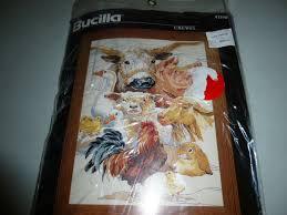 bucilla crewel needlepoint kit barnyard cow pig rooster