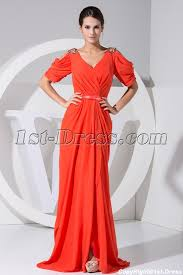 cheap plus size orange prom dresses with short sleeves wd1 042 1st