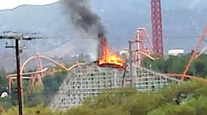 Flag On Fire Roller Coaster Is Set On Fire At Six Flags Youtube