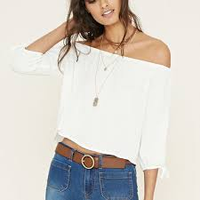 forever 21 white blouse the shoulder top forever 21 from forever 21 tops