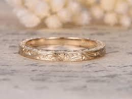 carved wedding band 14k gold carving wedding band nouveau leaf engraving