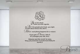 custom initial life is too short to wake up with regrets wall