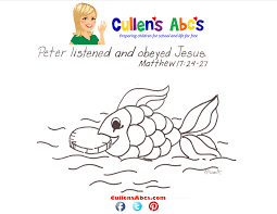 bible key point coloring page money in a fish online preschool