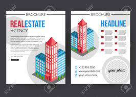 flat isometric city real estate brochure template with place