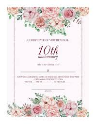 free printable vintage floral 10th anniversary vow renewal certificate