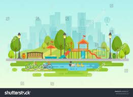 city park outdoor decor elements stock vector 604888367