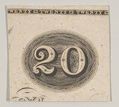 file banknote motif the number 20 against an ornamental lathe